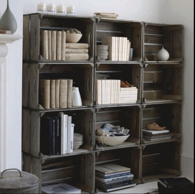 Stacked crate book shelf