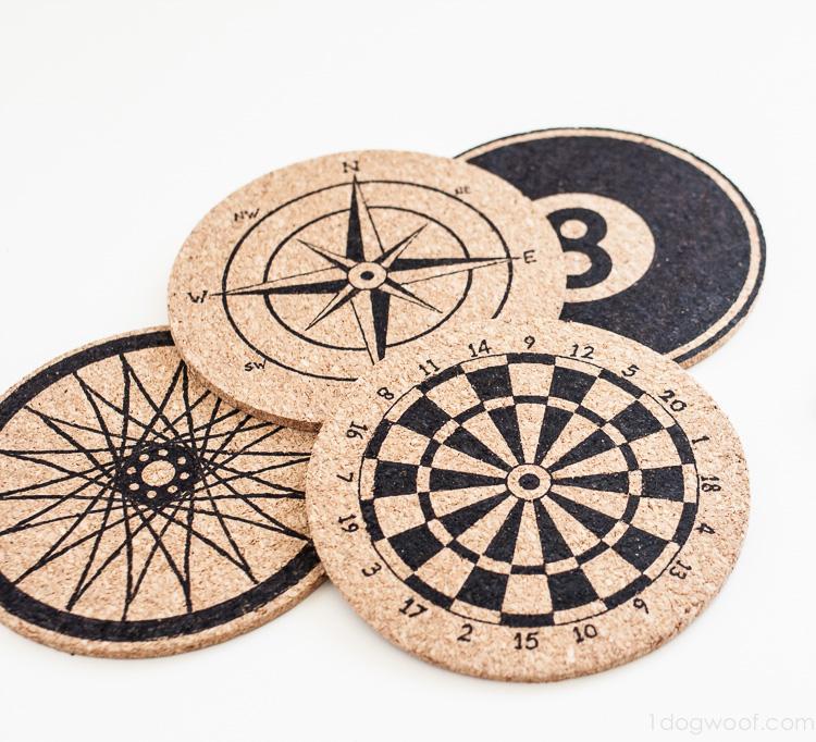 Stencilled cork compas coasters