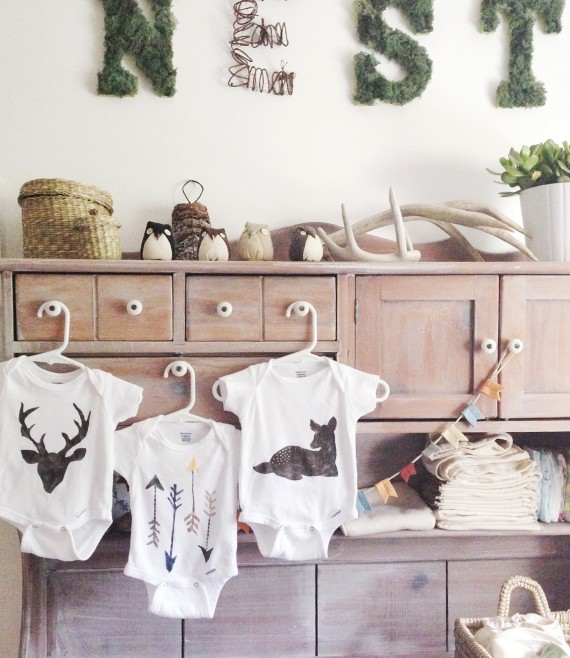 Stencilled wilderness onesies
