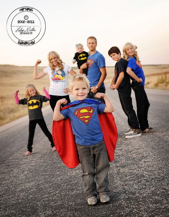 Super hero family photoshoot
