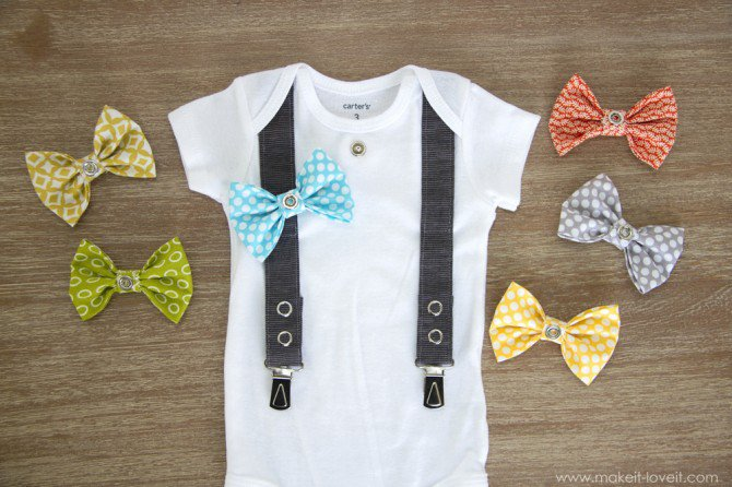 Suspender and interchangeable bow tie onesie