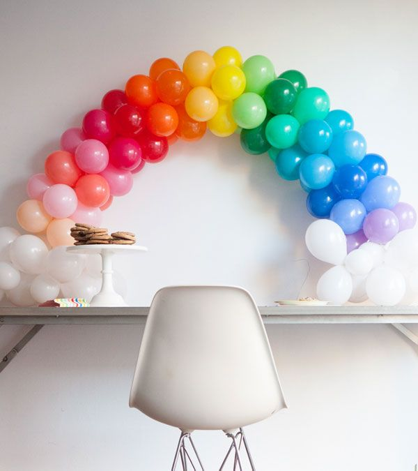 Tabletop rainbow balloon arch