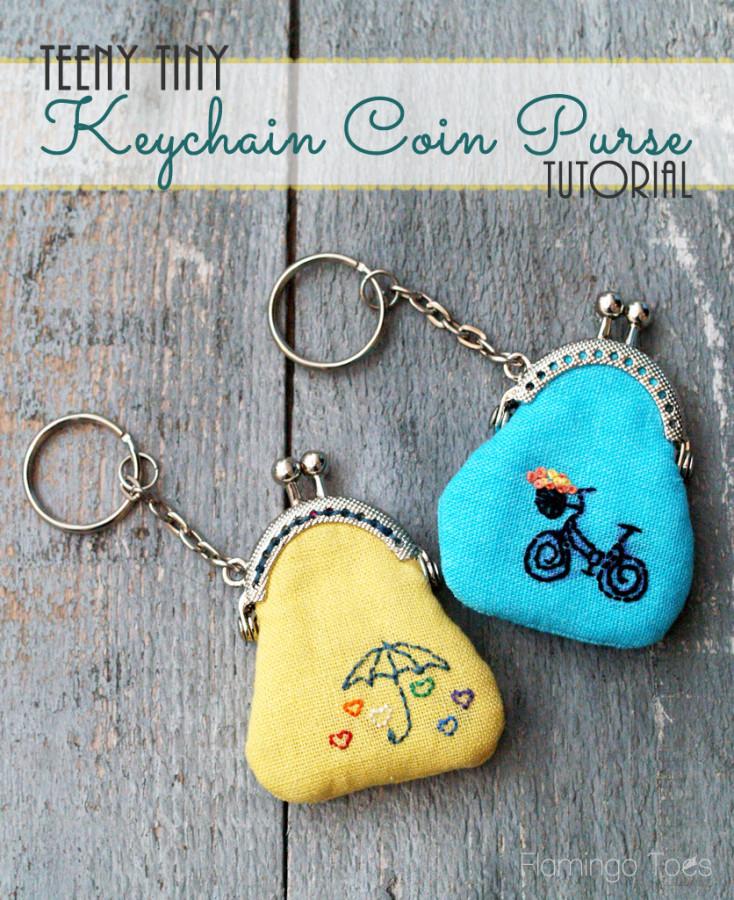 Teeny tiny keychain coin purses