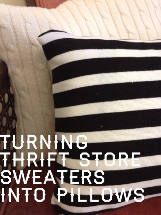 Thrift shop sweater pillow cases