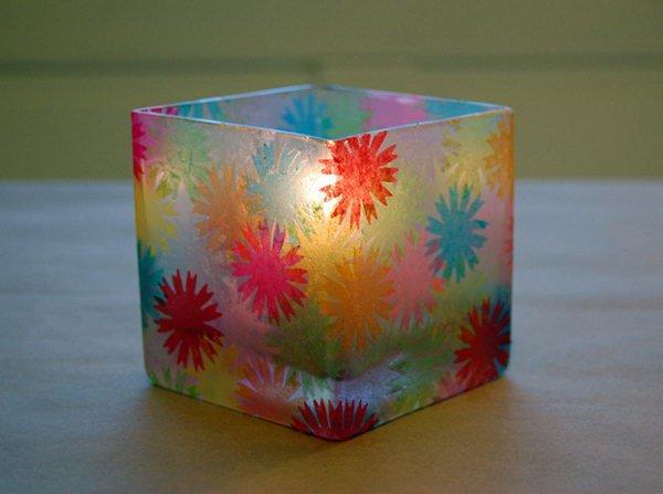 Tissue paper votive holder