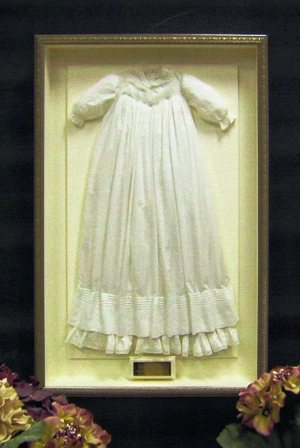 Vintage christening dress shadowbox
