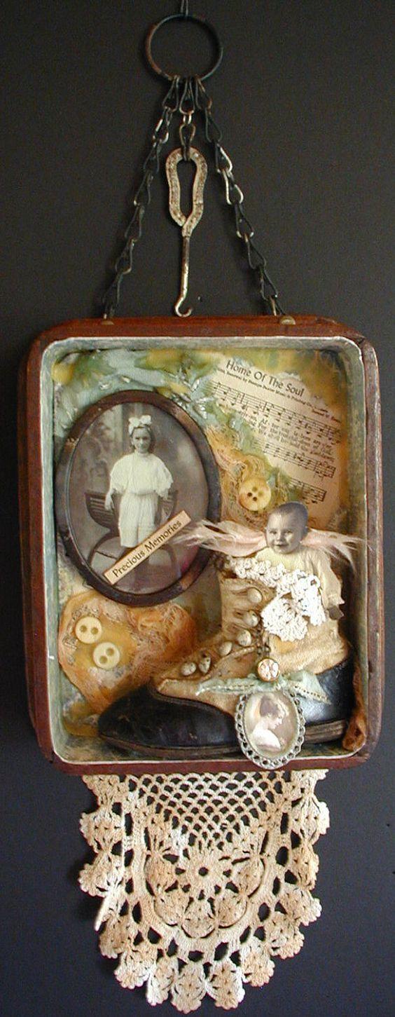 Vintage collectibles shadow box