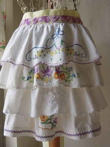 Vintage embroidered pillow case aprons