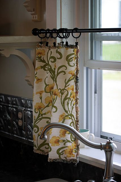 Vintage napkin curtains