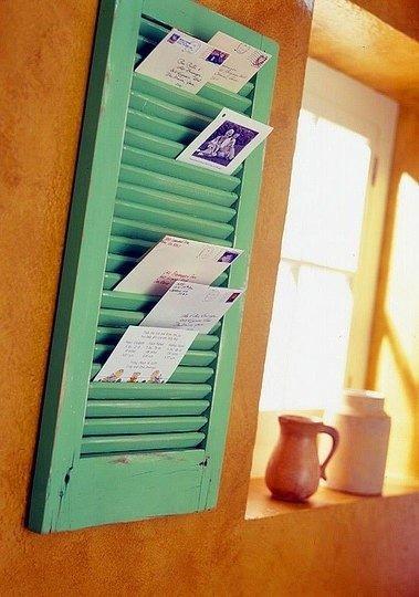 Vintage wooden shutter mail sorter