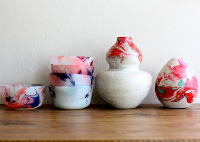 Water marbled pots