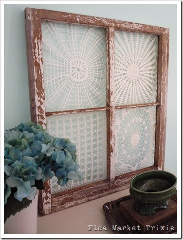 Wood framed vintage doilies