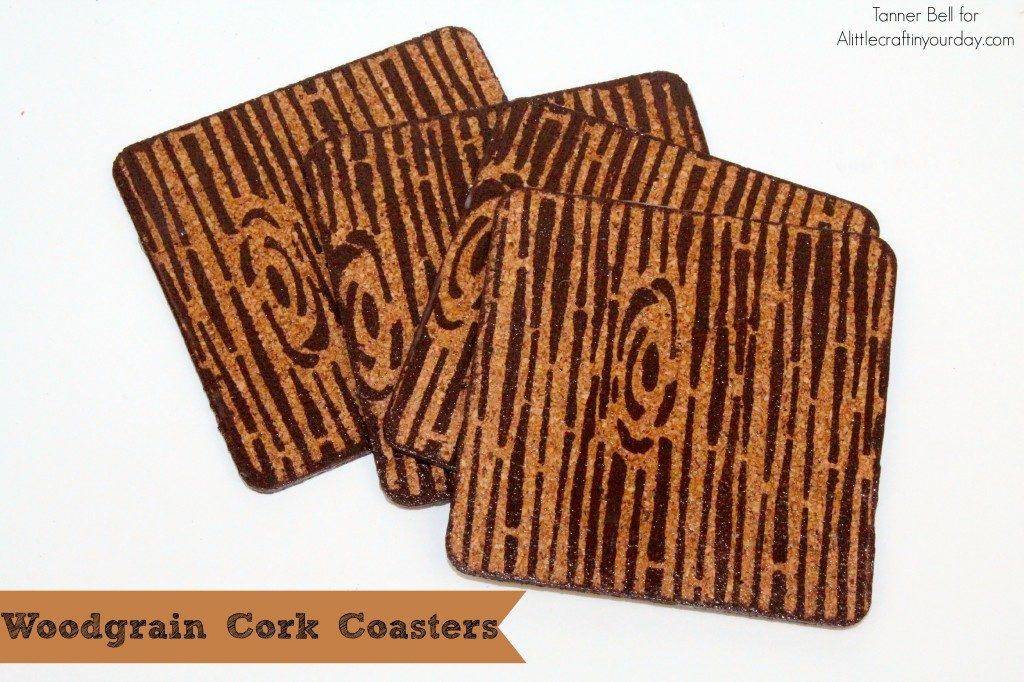 Woodgrain cork coasters