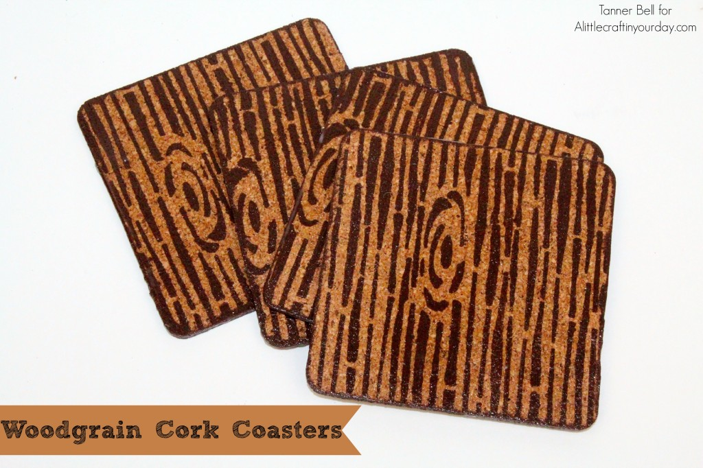 Woodgrain cork coasters