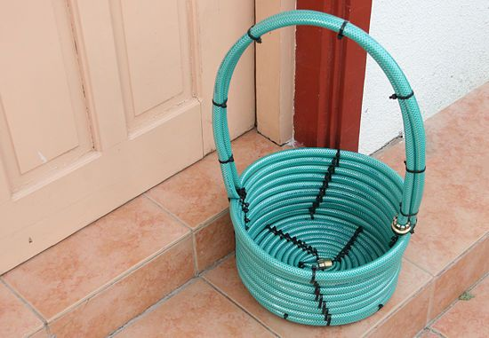 Woven basket from old hoses