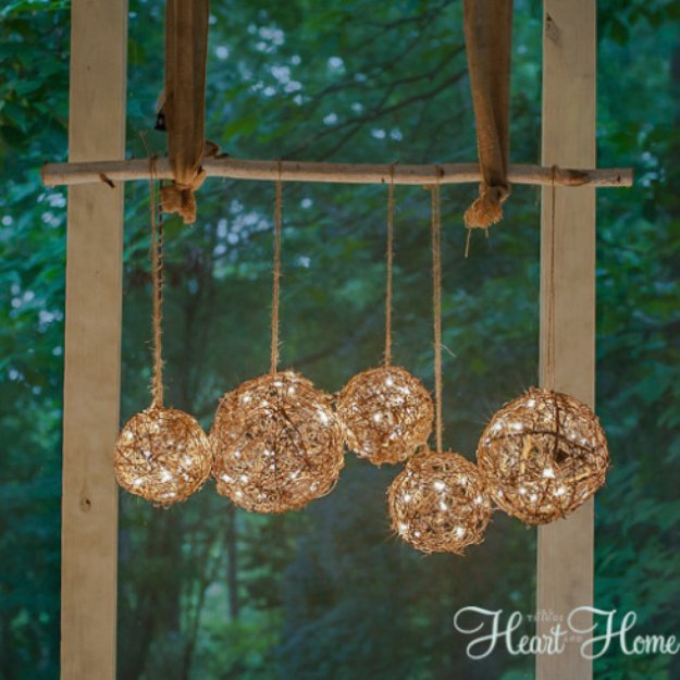 Woven branch porch light