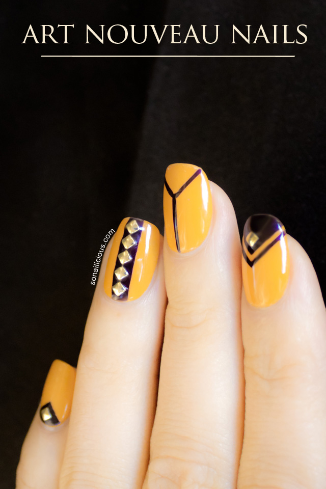 Yellow and black art nouveau nails