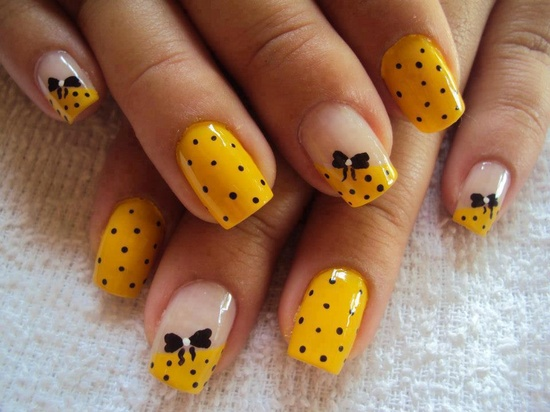 Yellow with black bows and polka dots