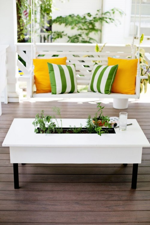 Diy herb garden coffee table for outdoors 1 500x750
