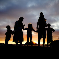 Family silhouette picture
