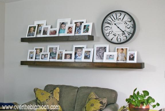 Floating shelves photo display