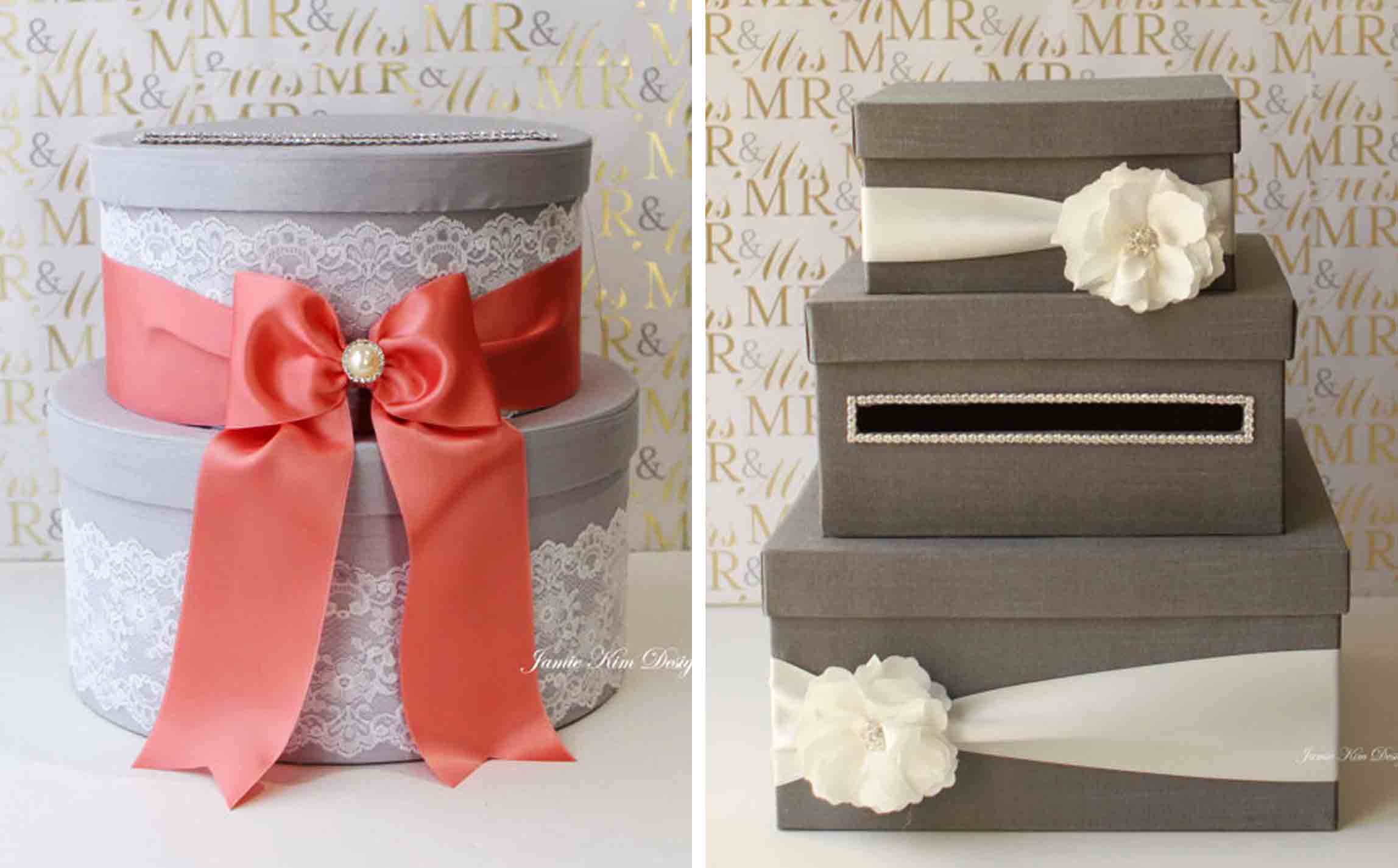 Hat box wedding card holders