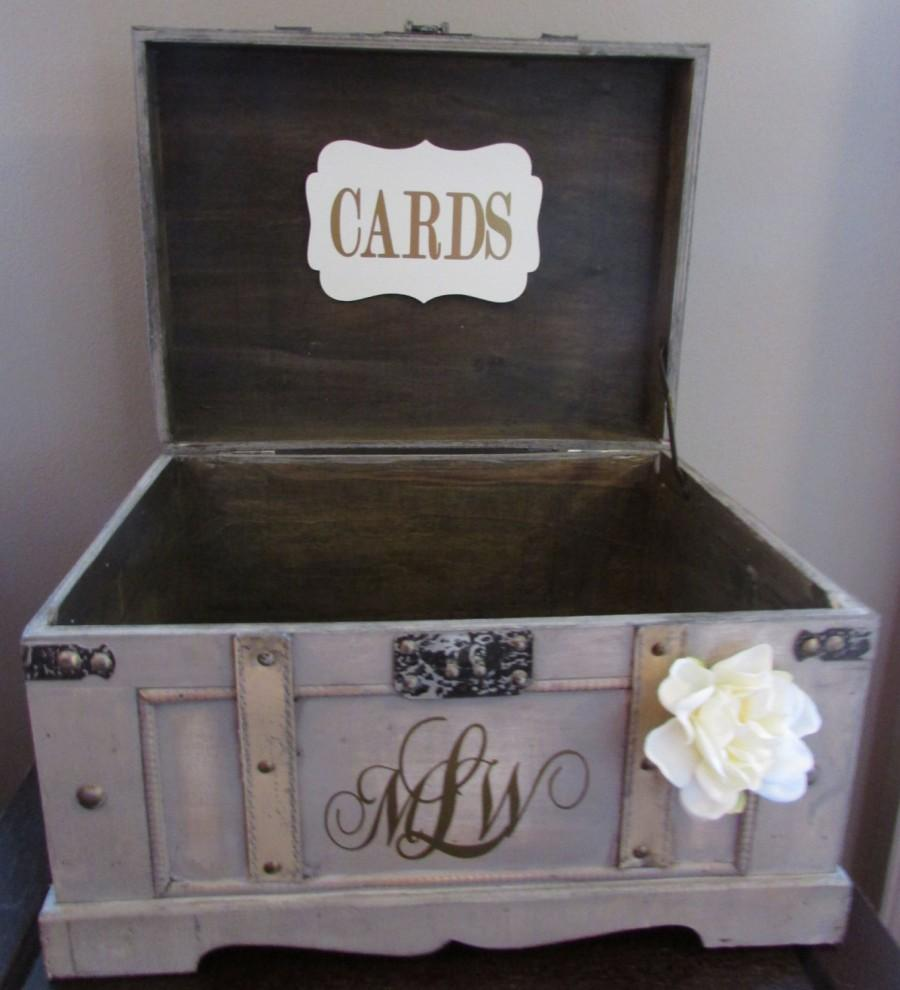 Vintage wedding card box extra large rustic wedding card box vintage trunk wedding box with custom wedding monogram c1c