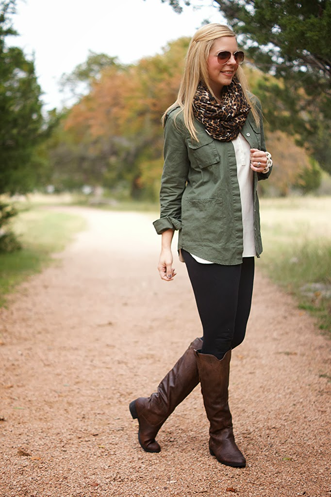 17 leggings with green military style jacket