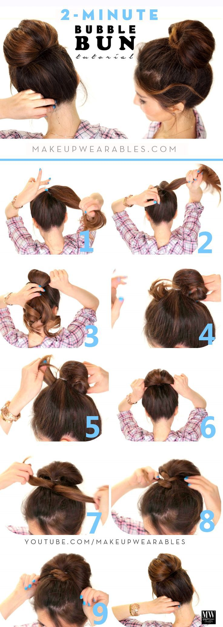 2 minuten hair bun tutorial via bmodish