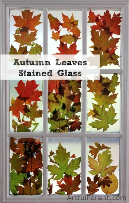 Autumn leaf stained glass
