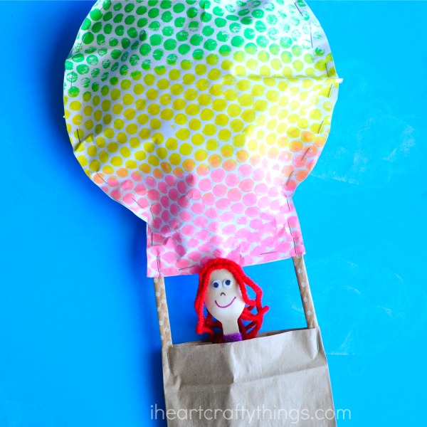 Bubble wrap printed hot air balloon