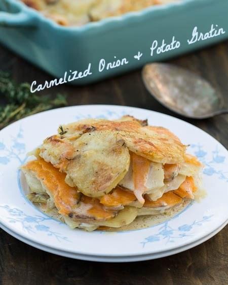 Carmelized onion and potato gratin
