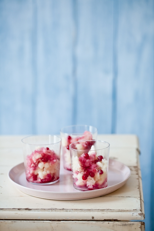 Champagne sorbet with red currant syrup