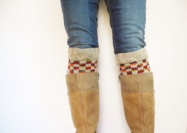 Checkerboard boot cuffs