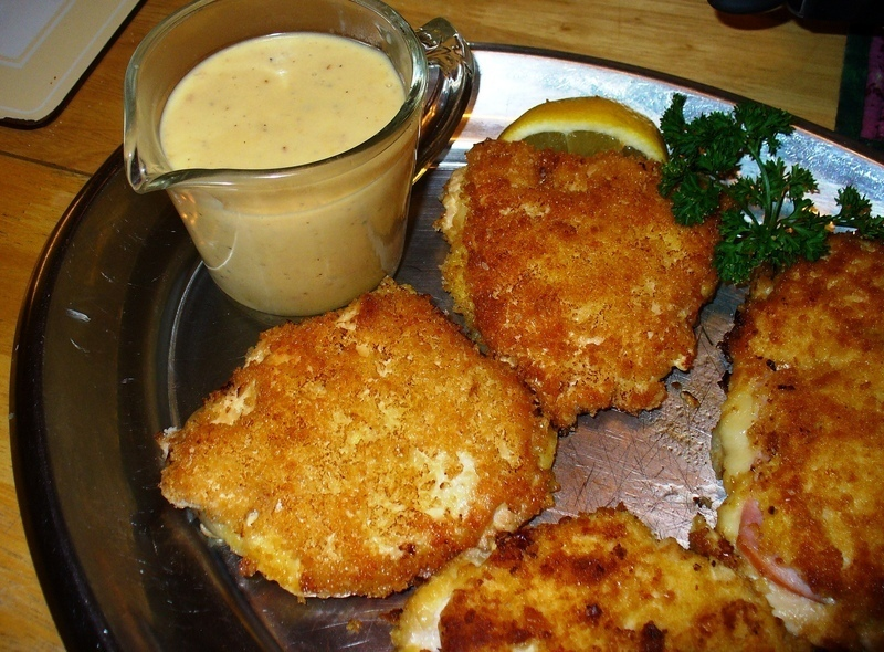 Chicken cordon bleu, schnitzel style