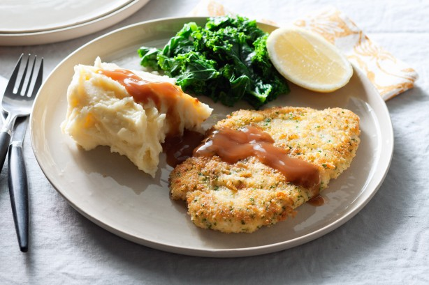 Chicken, herb, and parmesan schnitzel with mushroom and garlic sauce