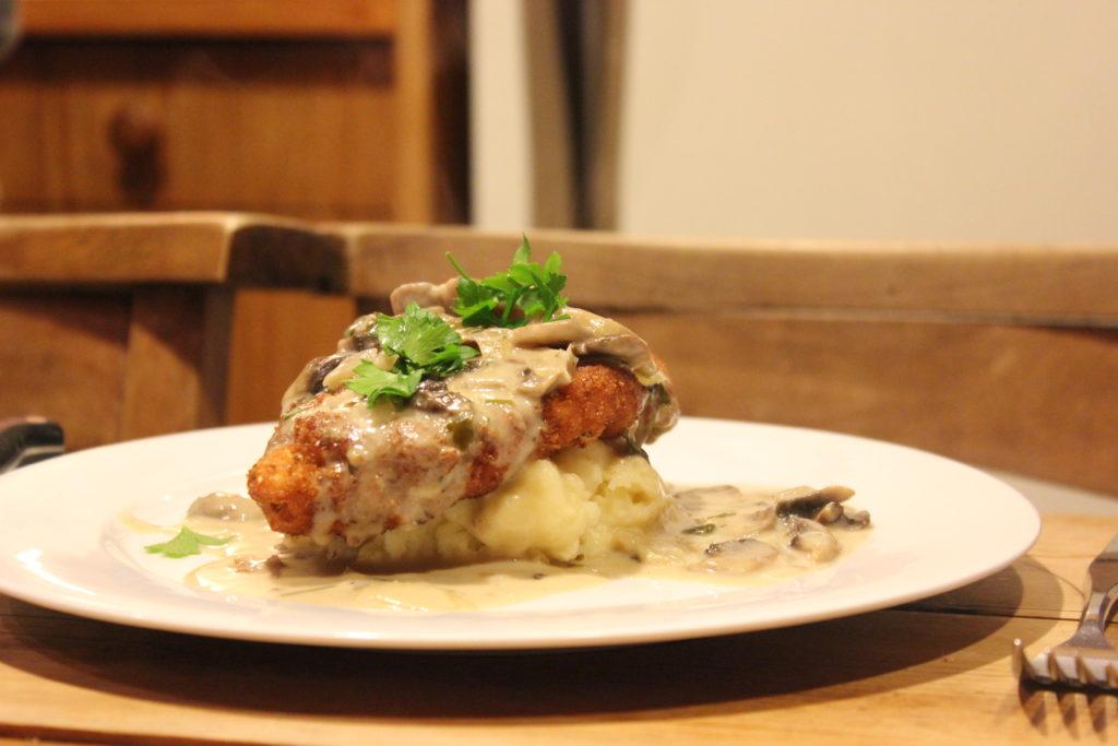 Chicken schnitzel with jaeger sauce