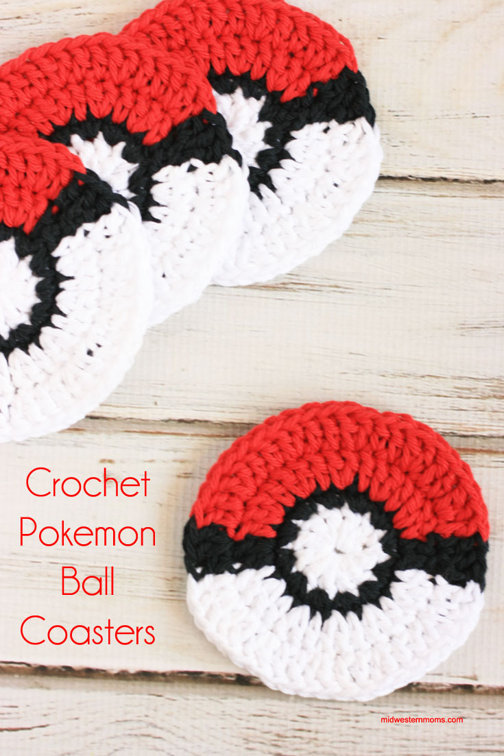 Crochet pokemon ball coasters
