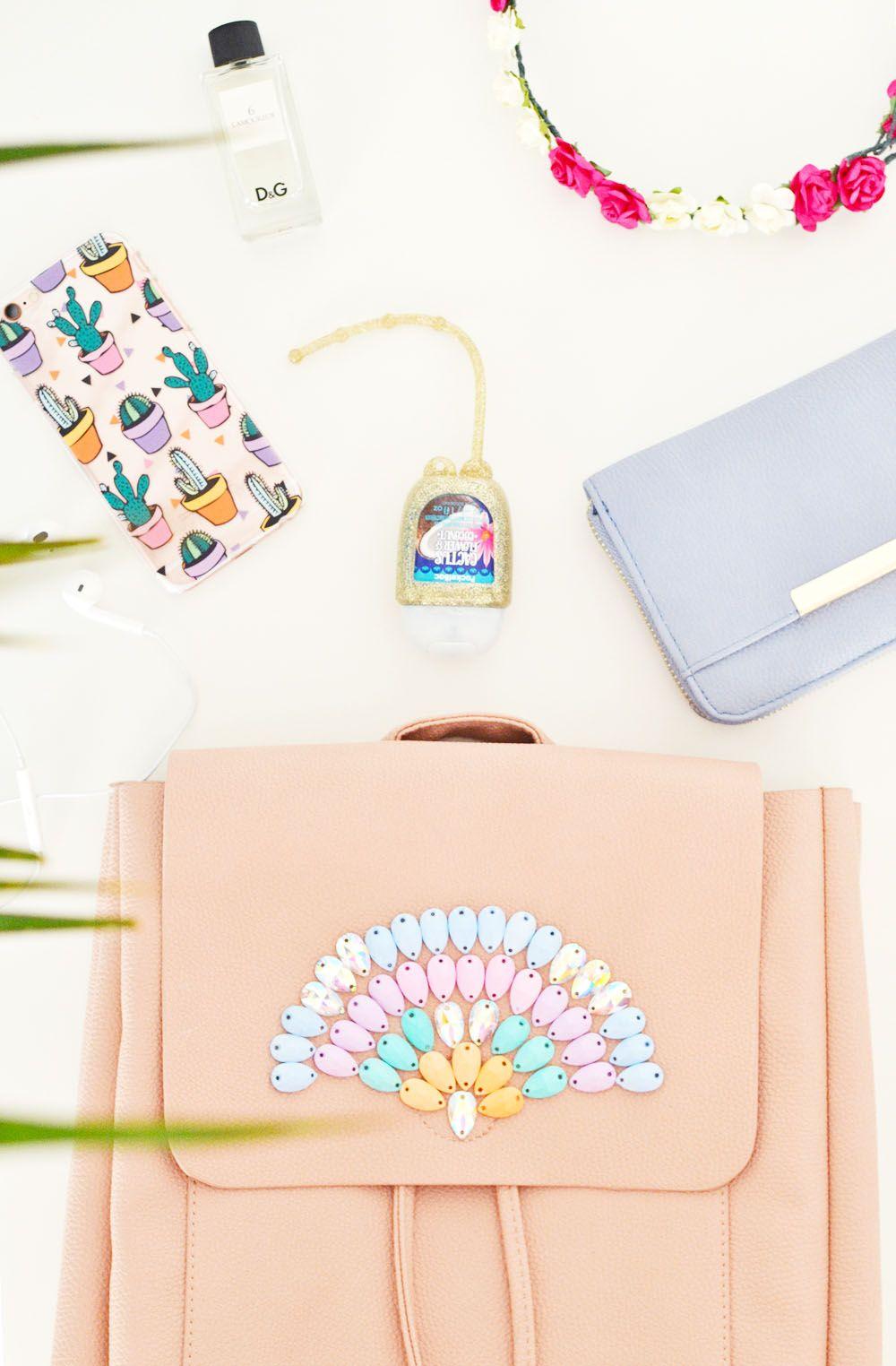 Diy pastel gemstone backpack craft