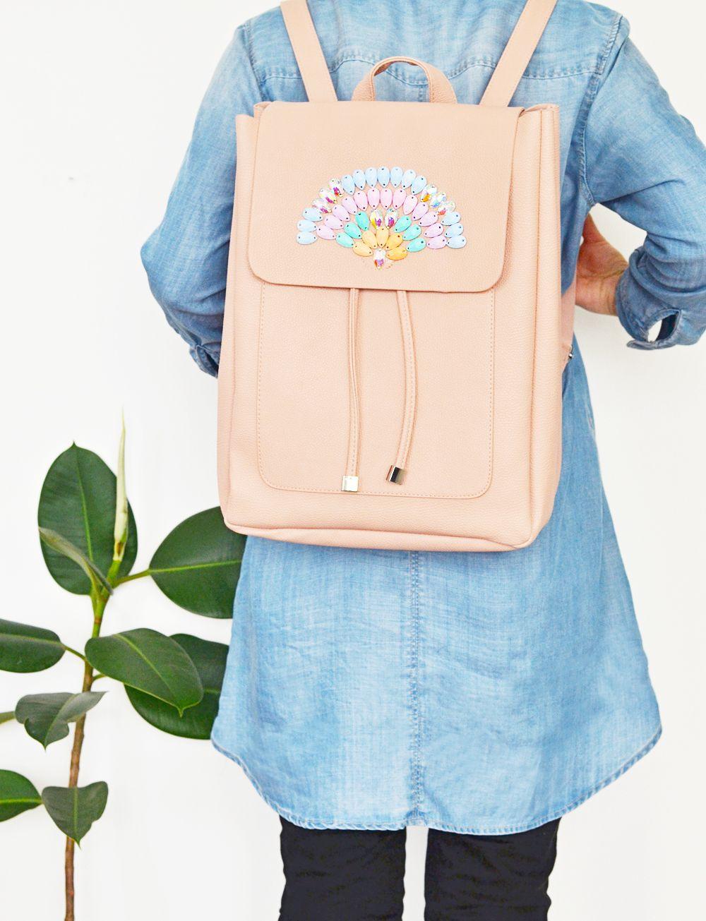 Diy pastel gemstone backpack project