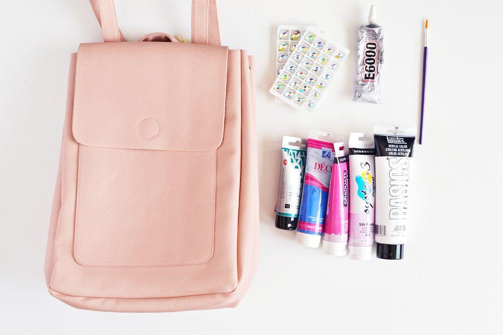 Diy pastel gemstone backpack materials
