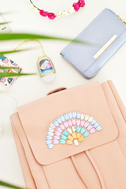 Diy pastel gemstone backpack ready for school