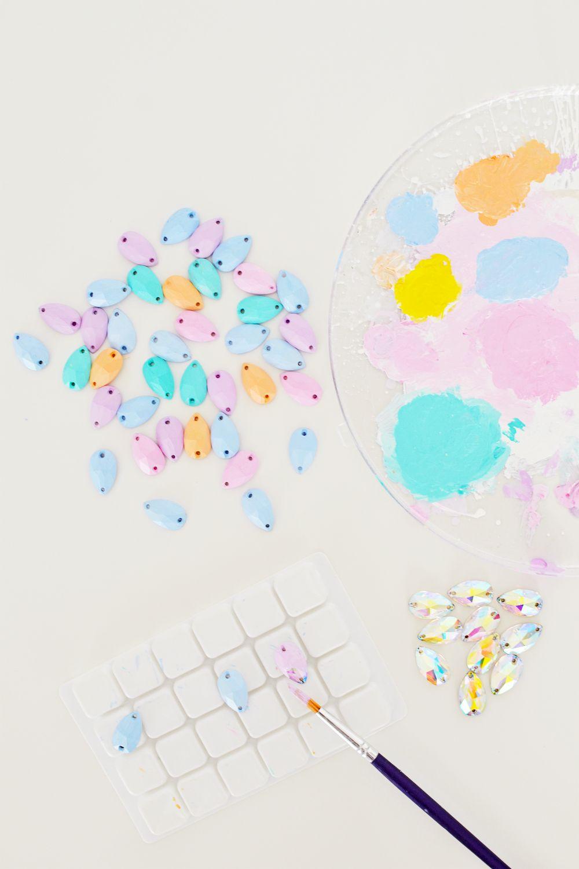 Diy pastel gemstone backpack steps 1