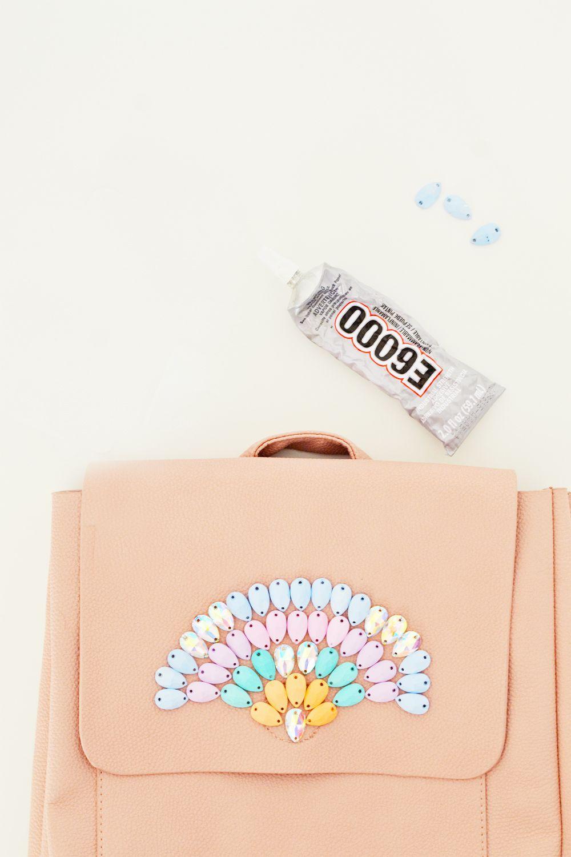 Diy pastel gemstone backpack steps 2