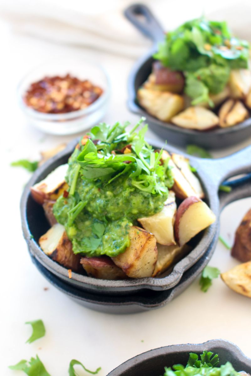 Easy grilled potatoes with avocado chimichurri