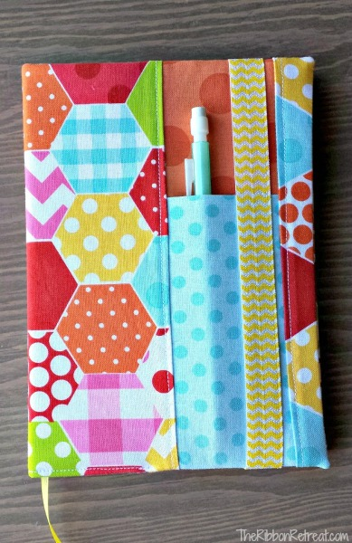 Fabric covered notebooks with pen holder