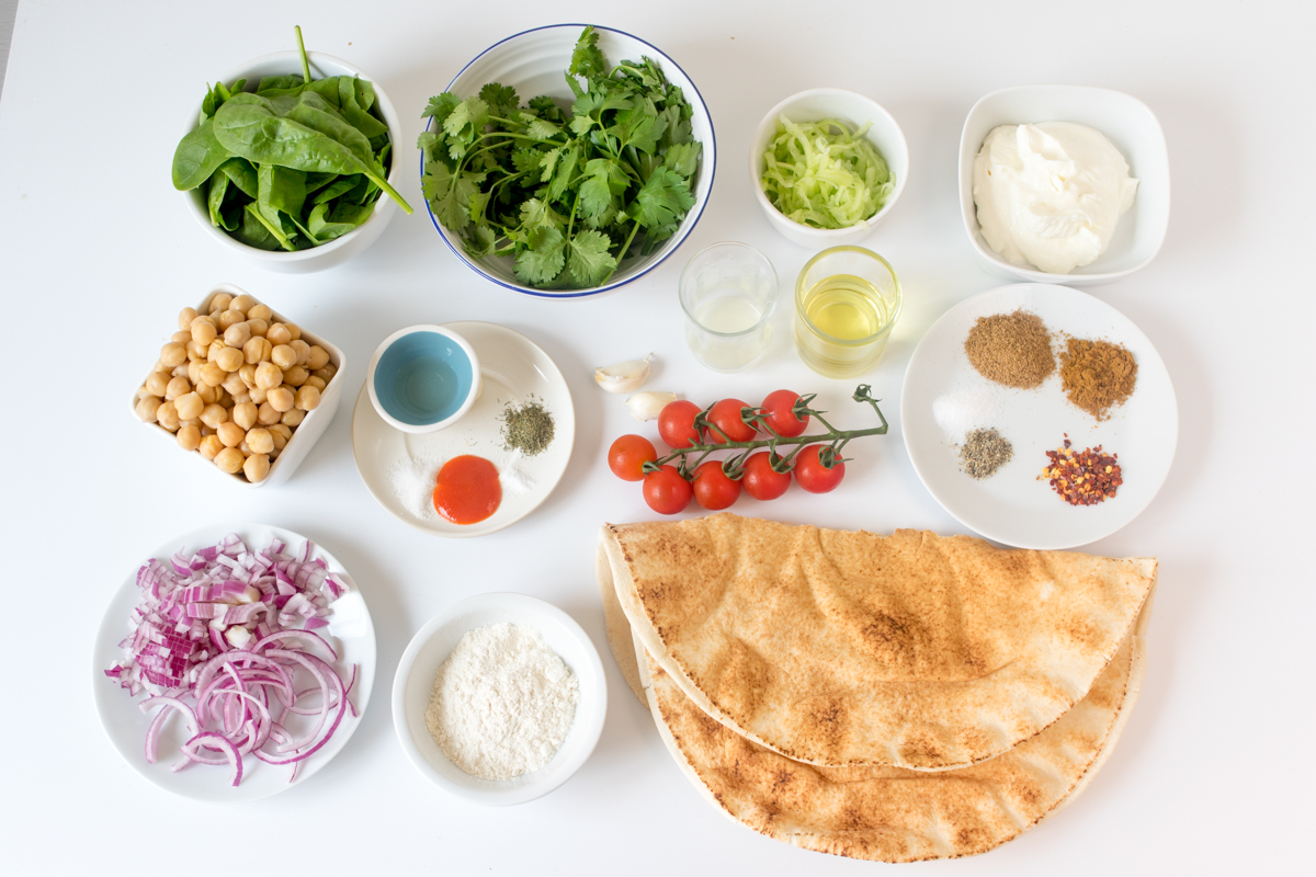 Falafel wrap with sriracha tzatziki ingredients