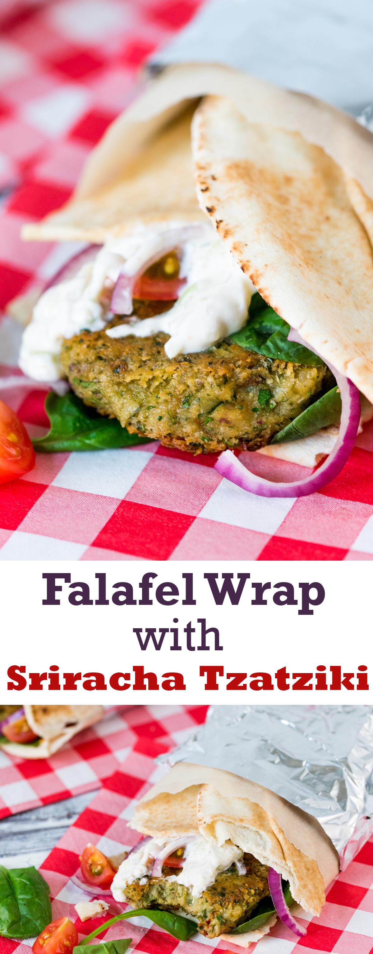 Falafel wrap with sriracha tzatziki pinterest
