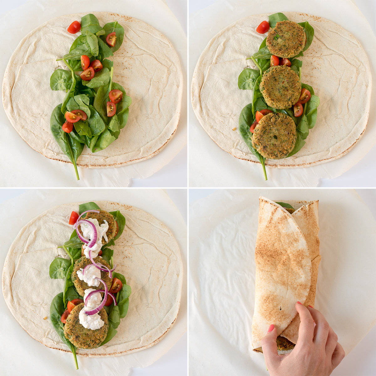 Falafel wrap with sriracha tzatziki step5 collage