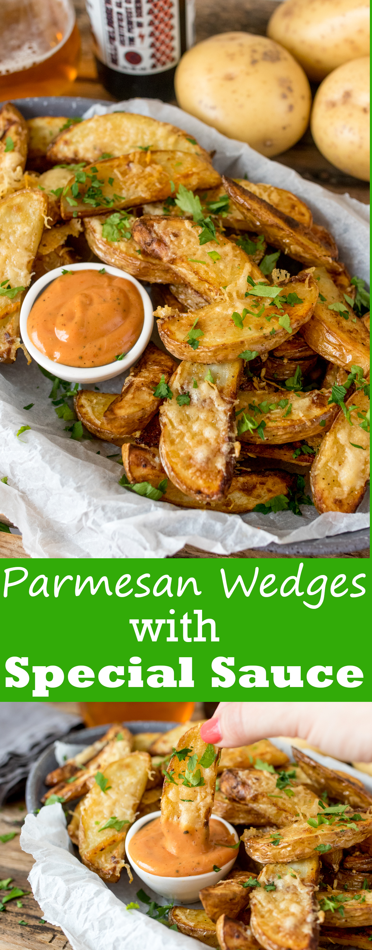 Garlic parmesan potato wedges with special sauce pinterest